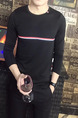 Black Knitted Plus Size Slim Contrast Stripe Round Collar Men Sweater for Casual