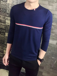 Blue Knitted Plus Size Slim Contrast Stripe Round Collar Men Sweater for Casual