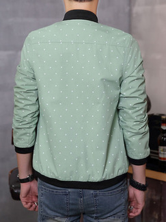 Green Plus Size Jacket Contrast Linking Ribbed Wave Point Stand Collar Zipped Men Jacket for Casual
