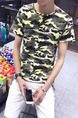 Black Green and Grey Knitted Plus Size Slim Camouflage Round Neck Men Shirt for Casual