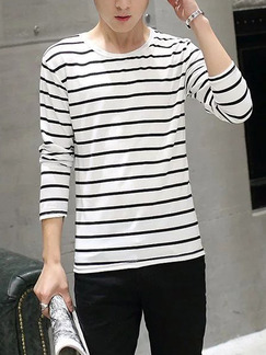 White and Black Plus Size Knitted Slim Contrast Stripe Round Neck Men Shirt for Casual Party