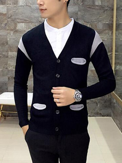 Black and Grey Knitted Contrast Linking V Neck Buttons Men Cardigan for Casual