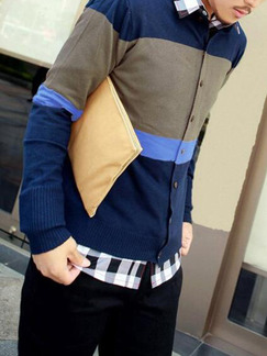 Blue and Grey Knitted Plus Size Stripe Contrast Linking Round Neck Buttons Men Cardigan for Casual