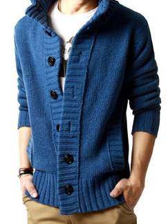 Blue Plus Size Knitted Stand Collar Buttons Pockets  Men Cardigan for Casual