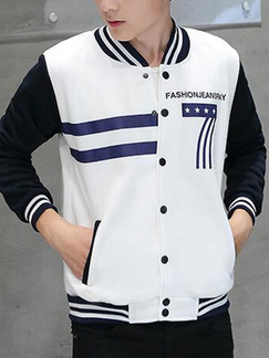 White and Black Plus Size Jacket Knitted Contrast Located Printing Linking Stripe Stand Collar Varsity Men Jacket for Casual
