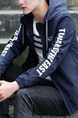Blue Plus Size Jacket Contrast Linking Letter Hooded Drawstring Located Printing Men Jacket for Casual