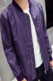 Purple Plus Size Jacket Stand Collar Zipper Ribbed Men Jacket for Casual