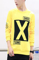 Yellow and Black Plus Size Loose Contrast Round Neck Set Head Linking Located Printing Men Shirt for Casual