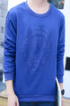 Blue Plus Size Set Head Loose Round Neck Pattern Linking Embossed Men Shirt for Casual