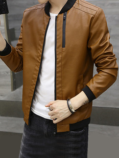Brown Plus Size Jacket Linking Stand Collar Water-Proof Zipper Men Jacket for Casual