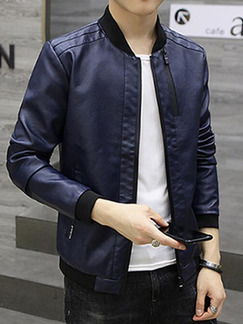 Blue Plus Size Jacket Linking Stand Collar Water-Proof Zipper Men Jacket for Casual