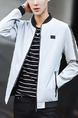 Grey Plus Size Jacket Contrast Linking Stand Collar  Ribbed Zipped Men Jacket for Casual