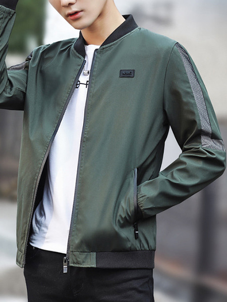 Green Plus Size Jacket Contrast Linking Letter Hooded Drawstring Located Printing Contrast Stand Collar Linking Ribbed Zipped Men Jacket for Casual