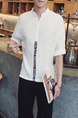 White Shirt Literary Tape Linking Stand Collar Zipped Plus Size Men Shirt for Casual