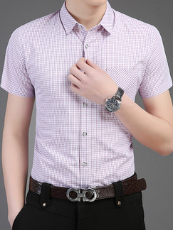 Pink Plus Size Shirt Grid Cardigan Slim Bottom Up Men Shirt for Casual Office