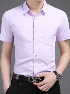 Purple Shirt Grid Plus Size Cardigan Slim Bottom Up Men Shirt for Casual Office