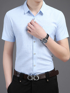 Blue Shirt Grid Plus Size Cardigan Slim Bottom Up Men Shirt for Casual Office
