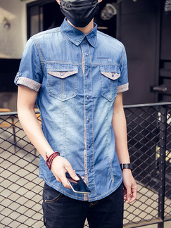 Blue Shirt Cardigan Denim Grid Linking Contrast Plus Size Bottom Up Men Shirt for Casual