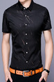 Black Plus Size Slim Shirt Cardigan Printed Bottom Up Men Shirt for Casual Office