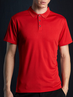 Red Plus Size Polo Placket Front Knitted Mesh Men Shirt for Casual