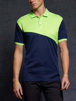 Blue and Green Plus Size Polo Placket Front Knitted Mesh Contrast Linking Men Shirt for Casual