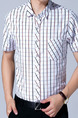 White Plus Size Shirt Cardigan Grid Bottom Up Men Shirt for Casual Office
