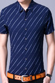 Blue Plus Size Shirt Cardigan Stripe Slim Bottom Up Men Shirt for Casual Office