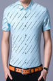Sky Blue Plus Size Shirt Cardigan Stripe Slim Bottom Up Men Shirt for Casual Office