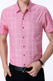 Pink Plus Size Shirt Cardigan Grid Bottom Up Men Shirt for Casual Office