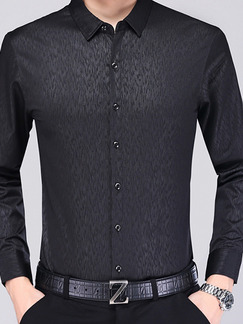 Black Shirt Plus Size Cardigan Staming Bottom Up Long Sleeve Men Shirt for Casual Office