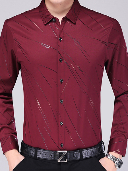 Red Slim Plus Size Shirt Cardigan Staming Long Sleeve Bottom Up Men Shirt for Casual Office