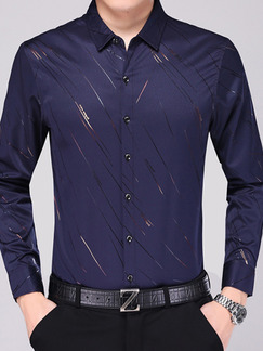 Blue Slim Plus Size Shirt Cardigan Staming Long Sleeve Bottom Up Men Shirt for Casual Office