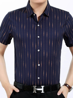 Blue Plus Size Shirt Cardigan Stripe Bottom Up Men Shirt for Casual Office