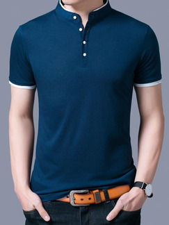 Blue Green Plus Size Polo Placket Front Knitted Stand Collar Contrast Linking    Men Shirt for Casual