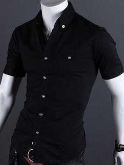 Black Plus Size Slim Shirt Cardigan Bottom Up Men Shirt for Casual Party