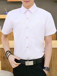 White Plus Size Slim Shirt Cardigan Bottom Up Men Shirt for Casual Office Party