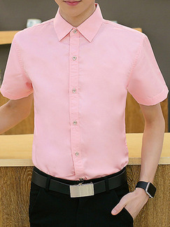 Pink Plus Size Slim Shirt Cardigan Bottom Up Men Shirt for Casual Office Party