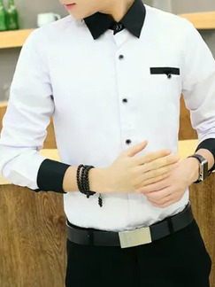 White and Black Shirt Cardigan Slim Linking Contrast Plus Size Long Sleeve Bottom Up Men Shirt for Casual Office Party