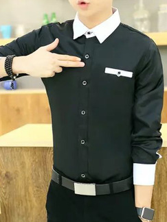Black and White Shirt Cardigan Slim Linking Contrast Plus Size Long Sleeve Bottom Up Men Shirt for Casual Office Party