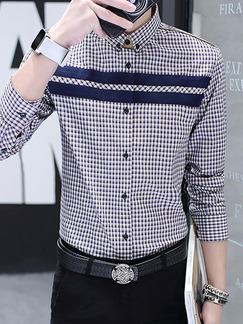 Blue and White Plus Size Shirt Cardigan Grid Linking Contrast Bottom Up Long Sleeve Men Shirt for Casual Office