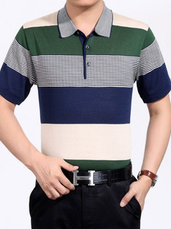 Colorful Plus Size Polo Placket Front Knitted Contrast Stripe Men Shirt for Casual Office