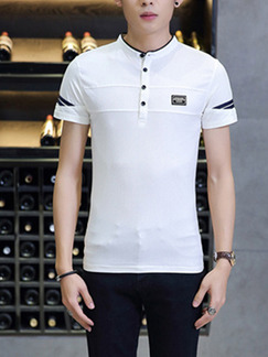 White Plus Size Polo Placket Front Stand Collar Contrast Linking  Men Shirt for Casual