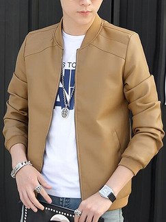Beige Plus Size Leather Jacket Linking Stand Collar Ribbed Men Jacket for Casual