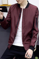 Red Plus Size Jacket Contrast Stripe Linking Ribbed Baseball Collar Men Jacket for Casual