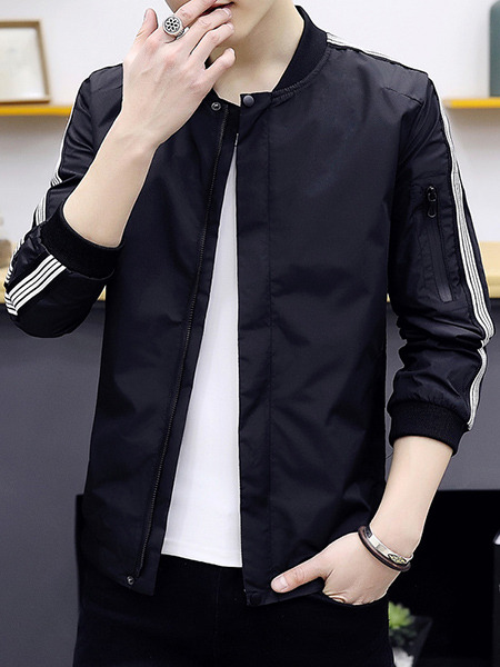 Black Plus Size Jacket Contrast Stripe Linking Ribbed Baseball Collar Men Jacket for Casual
