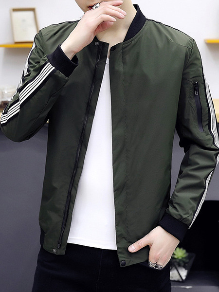 Green Plus Size Jacket Contrast Stripe Linking Ribbed Baseball Collar Men Jacket for Casual