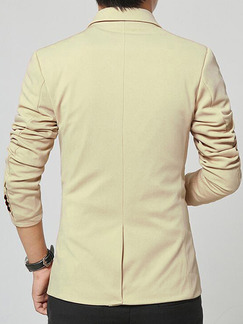 Beige Plus Size Contrast Tailored Collar One Button  Men Coat for Formal