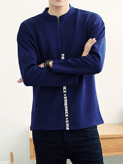 Blue Plus Size Knitted Stand Collar Zipper Letter Ribbon  Men Sweater for Casual