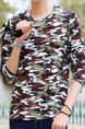 Black Green and Brown Plus Size Knitted Slim Round Neck Camouflage Men Shirt for Casual