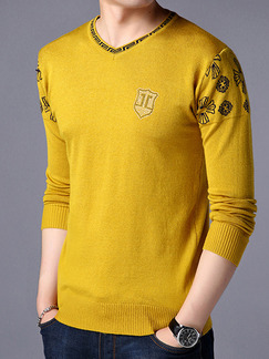 Yellow Plus Size Knitted Rhinestone Slim V Neck Contrast Linking Men Sweater for Casual
